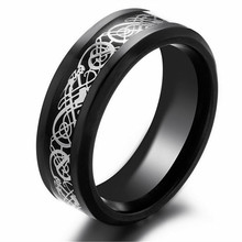 New Fashion Jewelry European And American Black Gold Carbon Dragon Ring For Men Domineering Dragon Rings Nice Gift(China)