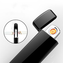 Latest Ultra-thin Fingerprint Touch Sensor Cigarette Lighters Rechargeable USB Charging Lighter Spare Electric Wire Gift Boxes(China)