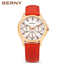 BERNY New Luxury Brand Women Watches Rose Gold Bracelets Ladies Wrist Watches Red Water ResistantCheap Womens Watches 2714L(China)