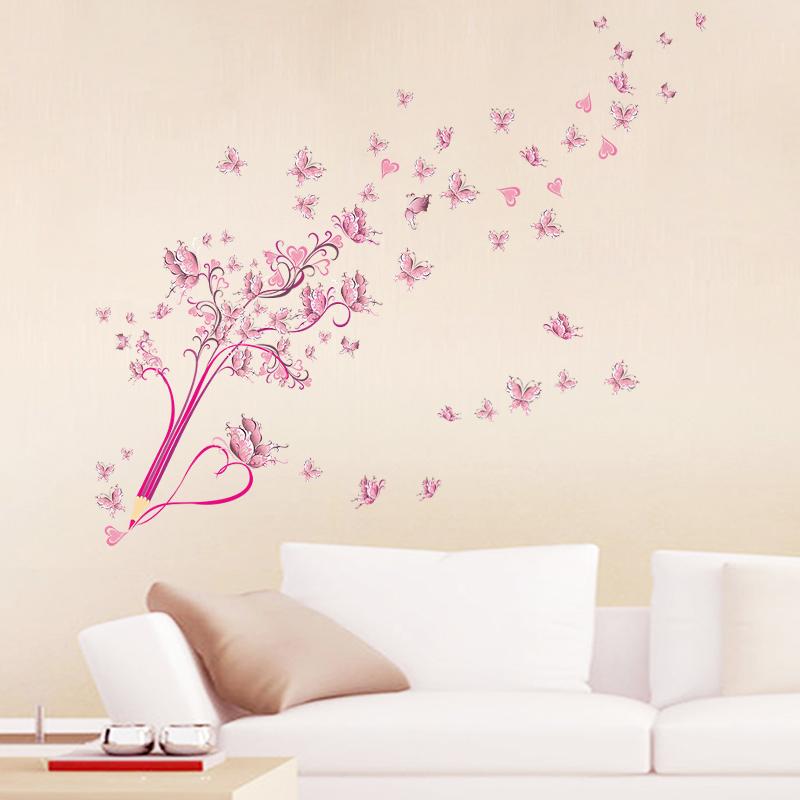 HTB1dh44ibwrBKNjSZPcq6xpapXaQ - Flying Pink Butterfly Flower Blossom Pencil Tree Wall Sticker