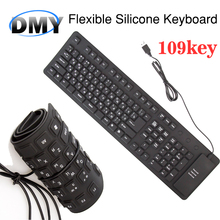 New Russian Spanish 109 Keys Waterproof bluetooth Portable Soft Flexible Silicone gaming Keyboard for PC Laptop In stock!(China)