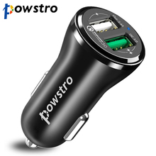 Powstro Qualcomm 3.0 Car Charger Dual USB Quick Charge QC 3.0 + 2.4A USB Charger Car Kit Phone Adapter Universal for All Phone