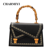 CHARMIYI Autumn Women Vintage Bamboo Tote Bag Famous Designer Brand PU Leather Handbag Ladies Casual Shoulder Messenger Bags(China)