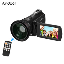 "Andoer HDV-D395 3"" WiFi Digital Video Camera 1080P 24M Camcorders w/ 72mm 0.39X Wide Angle+Macro Lens / IR Infrared Night Vision"