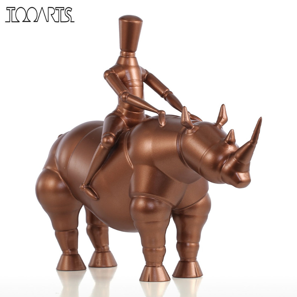 Tooarts Tomfeel Tooarts Rhinoceros Knight Modern Sculpture Resin Knight Figurine Home Decoration Accessories Resin Miniatures(China)
