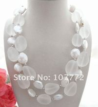 Charming! 6 strands White Pearl Necklace Free shipment(China)