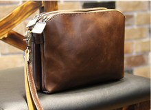 2017new fashion Retro leather bag men small messenger bag Brown shoulder bag small travel bags for men phone pack Free shipping