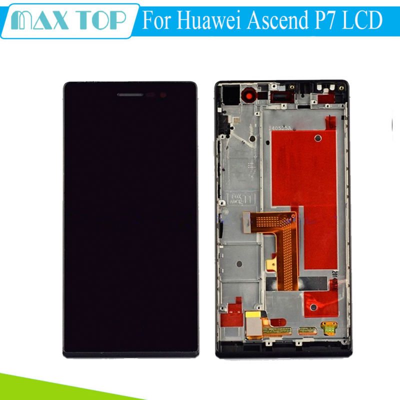 White Black 5.0 LCD Display+Touch Screen Digitizer Assembly +Frame For Huawei Ascend P7 Replacement<br><br>Aliexpress