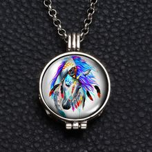 Perfume Aroma Pendant Necklace With Foam 25mm Glass Charms Unicorn Multi Pattern For Man Women & Girl DZ1751