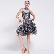 New customize custom paillette sequin diamond Rumba cha cha salsa tango  Latin dance competition dress c0a35eae85d8