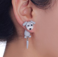 Fashion Summer Style Handmade Polymer Grey Dog Stud Earring For Women Jewelry 4099