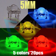 NEW!5Valuesx 20=100pcs New 5mm Piranha Super Flux Red/Green/Blue/White/Yellow LED Light Lamp(China)