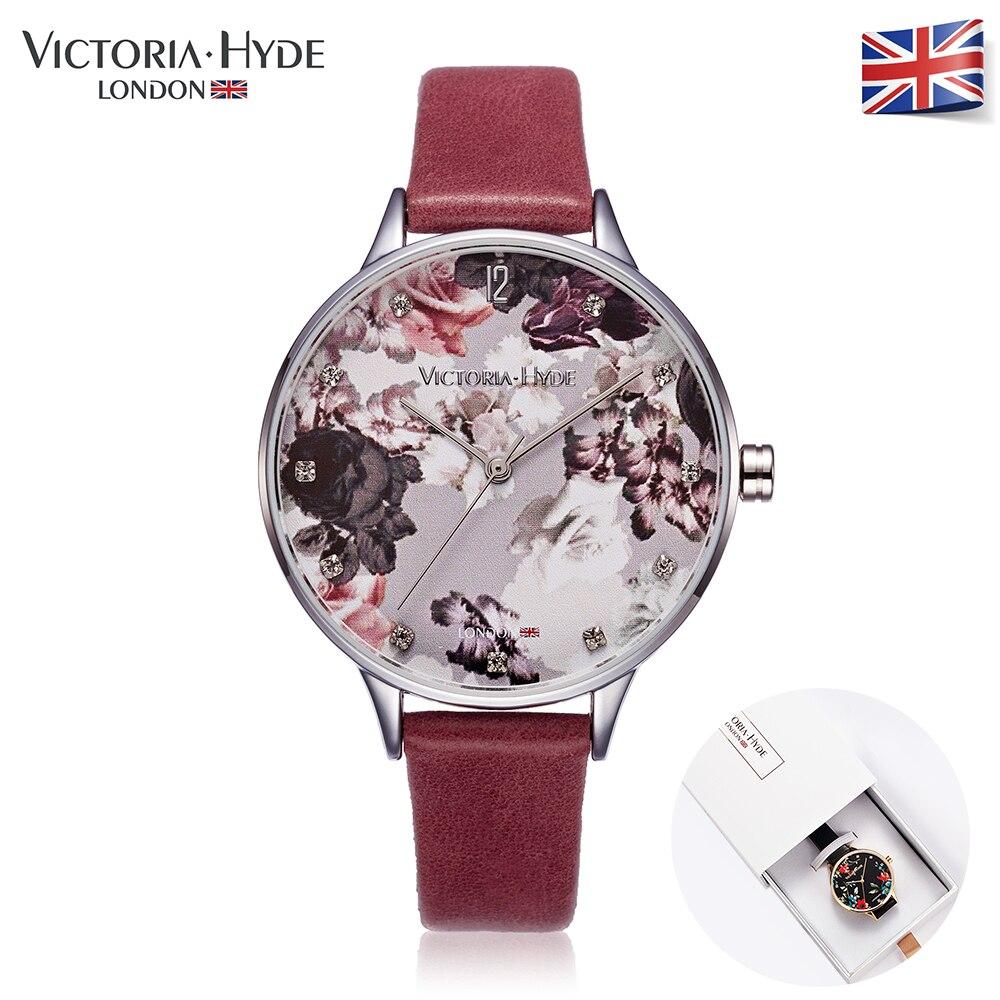 Victoria Hyde Women Watches Luxury Quartz Watch Black Leather Gold Ladies Clock Woman Wrist Watch Womens Waterproof Gift Box<br>