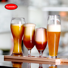 Free shipping high quality new fashionable lead free handmade blown beer glass beer goblet set of 4pcs and wooden paddle