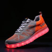 2016 Summer Latest Europe and US Explosion Sale LED Shoes For Men Fly Weaving Cloth Light Up Shoes With 7 Colors 11 Mode LED