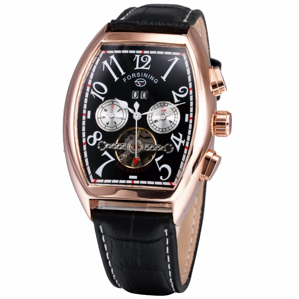 Transparent LUXURY AUTOMATIC MECHANICAL WATCH MEN BRAND Genuine Leather Date Calendar Multifunction Tourbillon Watches + Box<br><br>Aliexpress