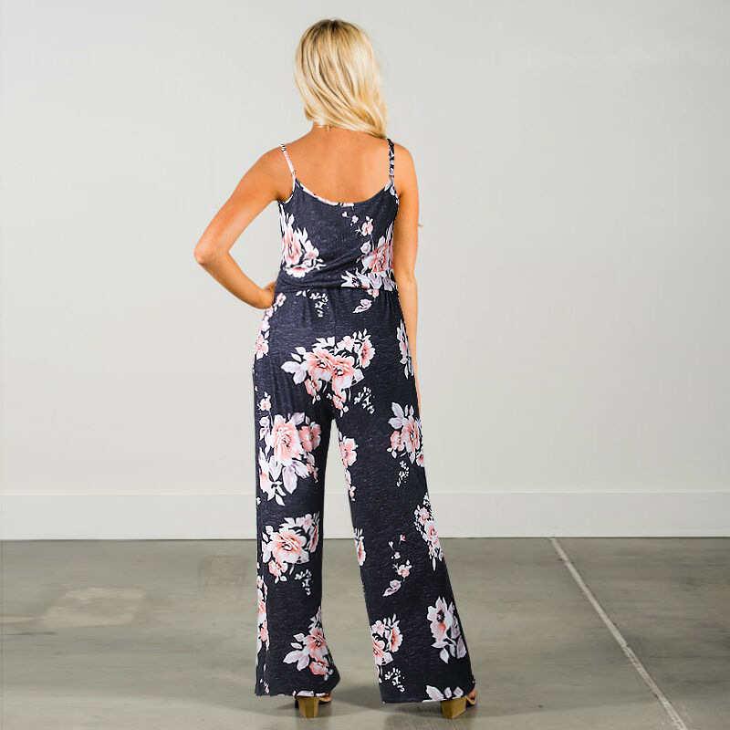 Spaghetti Strap Jumpsuit Women 2018 Summer Long Pants Floral Print Rompers Beach Casual Jumpsuits Sleeveless Sashes Playsuits 43