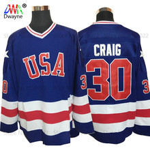 2017 Dwayne Mens Cheap USA Ice Hockey Jersey Vintage 1980 Miracle On Ice Team 30 Jim Craig Jerseys Stitched Retro Ice Wear Blue(China)