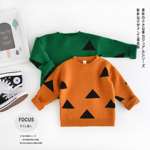 2016 New KIDS Boy Girls Sweater Thick Triangle Vintage Bebe Brand Kikikids Baby Girls Clothes Jumper Spring Autumn Kids Costume