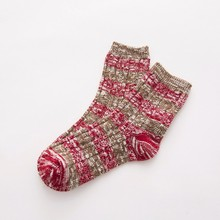 2017 Women Cotton Thick Thermal College Style Contrast Color Stripes Socks Knitting Socks