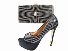 Italy Style Rhinestone Shoes And Bag Set For Wedding Party Fashion Ladies 12CM High Hell Shoes And Bag Set Black Color JA111