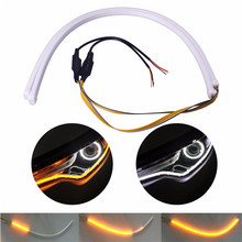 Car LED Strip White DRL and Yellow Flowing Daytime Running Light Flexible Headlight Strip For Audi A6 Q5 A8 A7 A5 A6 A4 A3 A1(China)