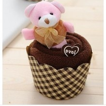 2014 Hot Sale PVC Box Package Wedding Favors And Gifts Wholesale Microfiber High Absorbent Teddy Bear Cake Towel 30*30cm(China)
