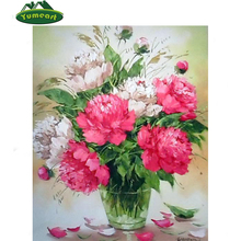 China Online Shopping DIY 3D Diamond Painting Manufacturer Various size digital Flower Handmade Diamond Oil Painting Home Decor(China)