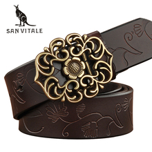 SAN VITALE New Designer Women's Belts Fashion Genuine Leather Brand Straps Female Waistband Pin Buckles Fancy Vintage for Jeans(China)