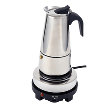 2 Cup 100ml Stainless Steel  Electric Moka Pot Espresso Maker Latte Percolator Italian Coffee Maker Pot For Use On Gas Electric