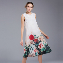 2017 Chinese Style Work Party Day Casual Dress Mid Ladies Dresses Sleeveless Vintage Elegant Button A-Line Flower Printed