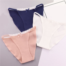 Buy Spiral Pattern Cotton Women Underwear Sexy Lace Girls Panties Cute Lovely Seamless Knickers Calcinha Lingerie Solid Underpants