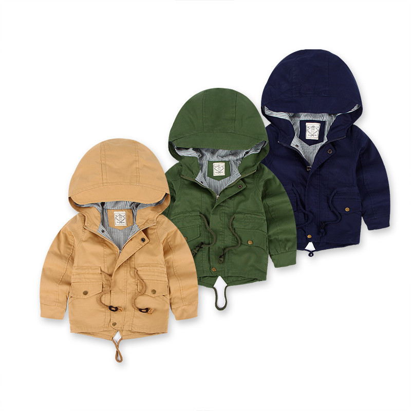 New 2018 Spring Jacket Children Causal Trench Outwear Thin Baby Boy Girls Coat Infant Children Clothing Kids Hoodie Jacket 3-10Y<br>