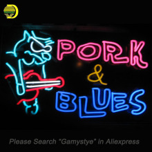 Neon Sign For PORK BLUES Neon Bulb Guitar Glass Tube Handcrafted Pub Restaurant neon Windows lights for sale custom LOGO made(China)