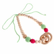 Buy OOTDTY Chain Baby Teething Necklace Teether Charm Wood Beads Chewable Loop Jewelry Gift for $2.45 in AliExpress store