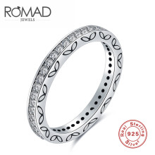 2017ROMAD new South Korea edition S925 fashion silver ring of women's single row of zircon ring gift(China)