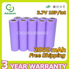 Apexway 10pcs/lot 3.7V 2000mAh li-Ion Rechargeable 18650 Batteries mobile power Camera Flashlight Battery(China)