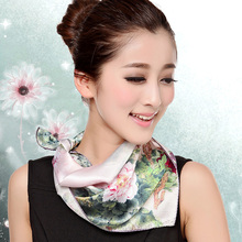 2016 Quality Silk Small Facecloth Women Square Silk Scarf,Hot Sale Spring And Autumn Mulberry Silk Scarf,Flower Pattern Scarf(China)