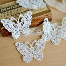 Lace clothing accessories exports fine white bow soluble lace embroidery (piece)