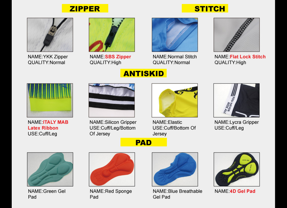 our cycling zipper and cycling pad