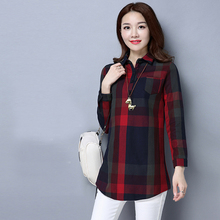 2017 Autumn Women's Clothes Long Sleeve Blouse Big Plaid Check Shirt Tunic Turn Down Collars Clothings Women Top Female Camisa(China)