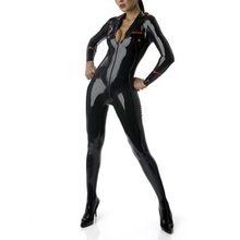 Buy Latex Rubber Coverall Sexy Catsuit Zentai Latex Garment Uniform Bodysuit Front Zipped