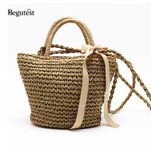 Summer Fashion Straw Beach Bags For Women Luxury Designer Best Beach Tote Bags Towel Basket Travel Handbags Ladies Shoulder Bag(China)