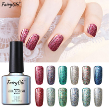 FairyGlo 10ml Bling Gel Polish Lucky Lacquer Stamp Enamel Semi Permanent Glitter UV Gel Nail Polish Paint Gellak Hybrid Varnish(China)