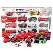 16 pcs Mini Metal force alloy fire truck Rescue Truck Engine Helicopter for Kids Diecast Vehicles Toys For Child