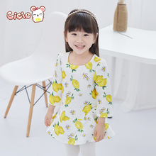 Cicie 2016 good quality promotion girls fruit print children clothes hot dresses baby dresses long sleeve baby clothes stripe
