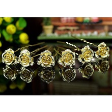 6 pcs X Set Bridal 3D Rose Crystal Gold Color Metal Hair Pins CP1145
