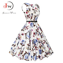 Women Summer Dress 2017 plus size clothing Audrey hepburn Floral robe Retro Swing Casual 50s Vintage Rockabilly Dresses Vestidos - Tomorrow Store store