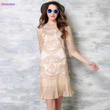 Buy HANZANGL New arrive 2017 Summer Women's Fashion Elegant Vintage Half Sleeve Knee Beige / Silver Pleated Lace Dress for $32.99 in AliExpress store