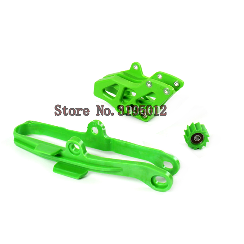 Green Chain Guide Guard Swingarm Chain Slide Slider Roller Tensione Guide Cover Kit For Kawasaki KX250F KX450F 2009-2015<br>